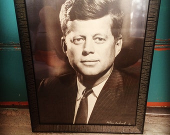 60s Framed JFK VINTAGE Print