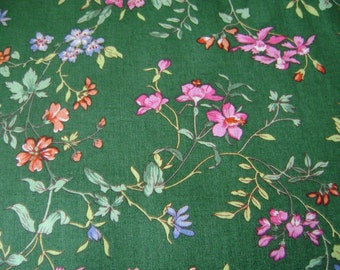 Green Floral Cotton Fabric Sold by the Yard