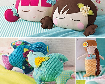Simplicity Pattern 8067 Stuffed Doll Face Pillow, Mermaids and Birds