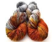 Hand Dyed Yarn--Birch Fire on Superwash 80 Merino/20 Nylon 2-Ply Twist Sock