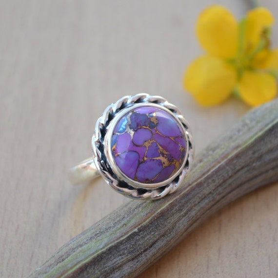 Purple Turquoise Gemstone Ring, 925 Sterling Silver Jewelry, Designer Ring, Unique Birthday Gift Ring, Purple Artisan Gift Ring Size 10