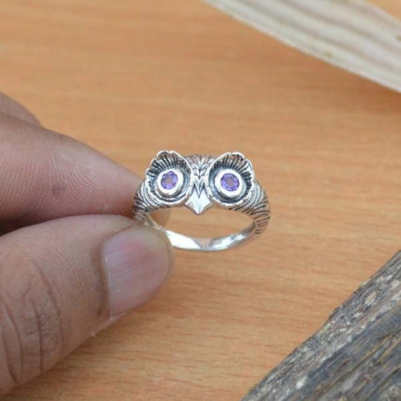 Owl Shape Amethyst Ring, Purple Gemstone Ring, Natural Amethyst Ring Size 7, 925 Sterling Silver Ring, February Birthstone Ring