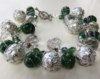 Sea Pearl Charm Bracelet - 1950 pearls with Deco Agate and AB crystal Beads