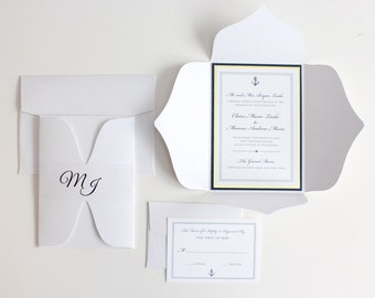 Nautical wedding invitations, navy, gold, nautical, wedding invitations, DEPOSIT to get started