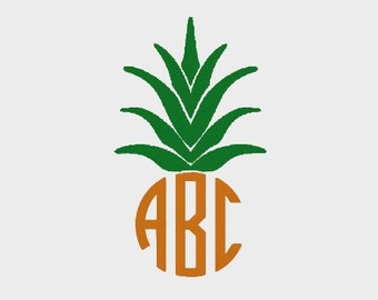 """Pineapple Monogram Topper Embroidery file in 4 sizes (2"""", 3"""", 4"""" & 5"""") for most machines - INSTANT DOWNLOAD - Item #2061"""