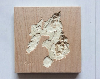 Wooden Mini Map of Islay. Carved Topographical Wooden Map Made with Birch Plywood and Wood Wax - Wooden map - Carved map