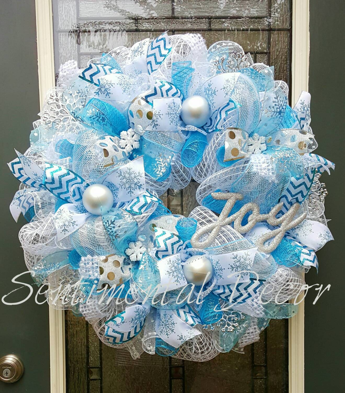 Winter Wonderland WreathMade To OrderTurquoise Blue amp White