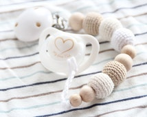 NEW Natural baby pacifier clip / Dummy holder / Beads are safe for teething