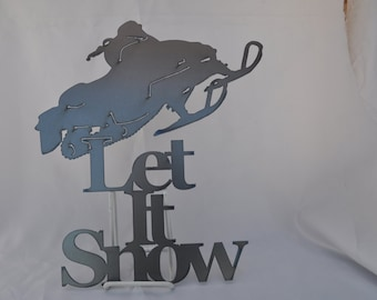 WN02 Let it Snow Snowmobile jumping metal winter decor