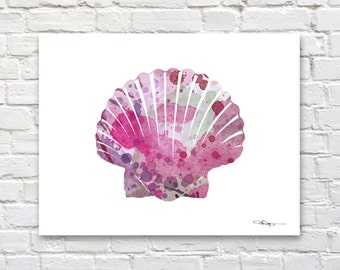 Sea Shell Scallop Print - Abstract Watercolor Painting - Wall Decor