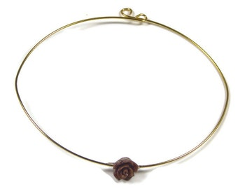 Small gold plated bracelet with tiny rose