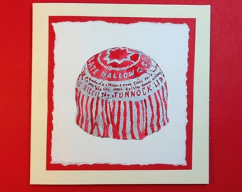 Hand-painted watercolour Tunnocks Teacake card
