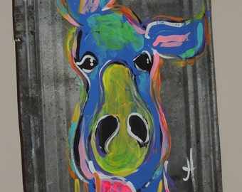 Blue Donkey painted on recycled tin