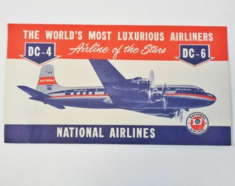 Vtg National Airlines Boarding Pass Envelope - 1940's DC-4, DC-6