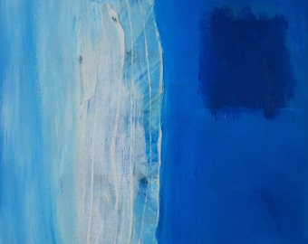 Small original abstract aerial contemporary painting. 12x12 oil acrylic on canvas beach minimal
