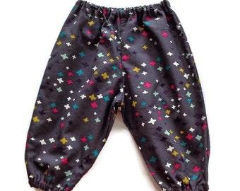 Organic cotton baby pants, gray harem pants, organic cotton pants, size 3 6 12 18 24 mnths, toddler girl pants, pants for babies