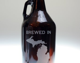Growler Custom engraved with State Brewed In  art,homebrew gift,home brew,growler gift,custom growler,dad gift,father gift,brother gift