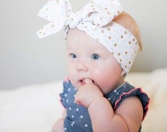 Baby headband;Rosie Wrap-headwrap; small multi dot fabric head wrap; newborn headband; baby headband; toddler headband; adult headba