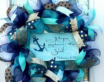 Deco Mesh Everyday Door Wreath~Hope Anchors the Soul Turquoise Spring Easter Front Door Wreath~ Door Decor