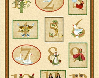 12 days of Christmas Panel from Timeless Treasures Quilting Fabric
