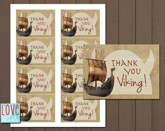 "Viking, Dragon Train favor tags, favors, thank you card - PRINTABLE DIGITAL FILE - Sheet of (8) 2.5"" x 3.5"""