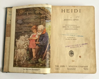 1924, Heidi, by Johanna Spyri. Illustrated by Clara M. Burd. Copyright 1924, The John C. Winston Company Publisher. Antique Hardcover Book.