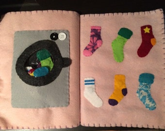 Sock Matching Quiet Book Page, Felt Busy Book, Felt Activity, Imagine Our Life