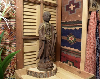 Antiques Japanese Wood Carved Statue Jizo Bodhisattva  Buddha 18 inches Tall