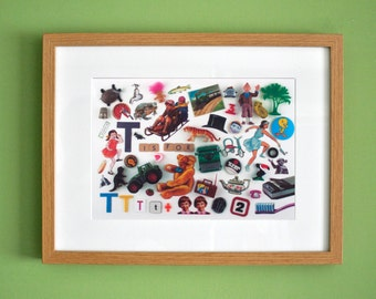 Limited Edition Alphabet Collage Print With Mount: T Is For...  Original, Vintage-Themed, Unframed