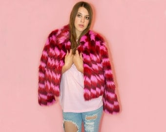 READ DESCRIPTION 90s Pink Rave Faux Fur Coat Monster Fur Shaggy Club Grunge Oversized Deadstock with tags
