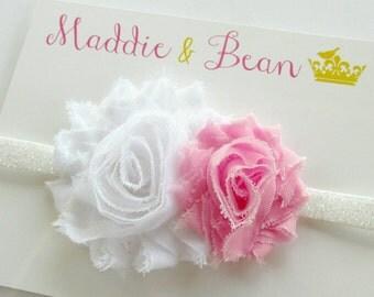 Pink and White Baby Headband, Pink Baby Headband, Baby Headband, Pink Headband, Newborn Headband, Flower Headband, Toddler Headband, Girls