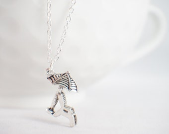 Beach Bum Necklace - Umbrella necklace - Beach umbrella - beach jewelry - beach chair necklace