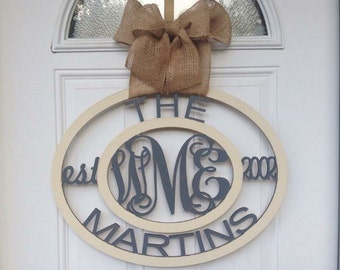 Monogram Family Sign, Name Sign, Established Sign, Wall Decor