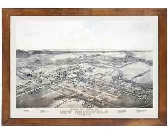 New Braunfels, TX 1881 Bird's Eye View; 24x36 Print from a Vintage Lithograph