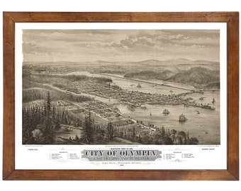 Olympia, WA 1879 Bird's Eye View; 24x36 Print from a Vintage Lithograph