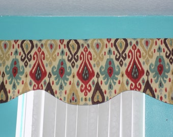SALE Ikat Designer Valance Red Gold brown Scallope Lined Window Treatments Curtain Valance