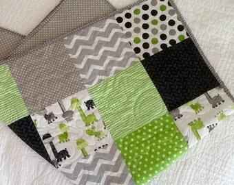 Baby Quilt, Dinosaur, Green, Crib Bedding, Crib Quilt