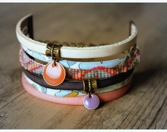 Liberty Brazilian Cuff Bracelet and pink and White - Leather woven boho cuff