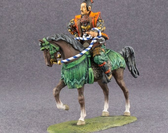 Medieval Action Figurine 1/32 Scale Japanese Samurai Cavalry Toy Soldier 54mm Hand Painted Tin Metal Miniature - Free Shipping