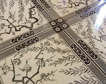 Antique Aesthetic brown transferware porcelain tiles, set of four