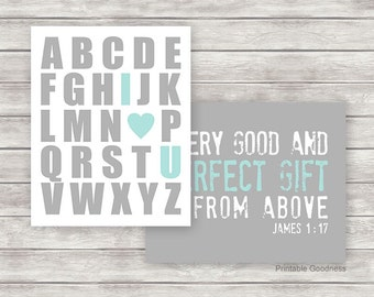 Baby Boy Room Decor, Alphabet I Love You, Every Good and Perfect Gift, Kids Prints, Boy Room Decor, Aqua Grey Printable Nursery Art Download