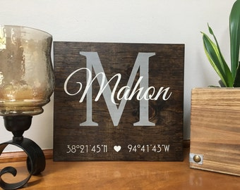 Custom latitude and longitude sign with Name   Personalized Name GPS Coordinates sign   Last Name Sign Est   Housewarming Gift   Wedding