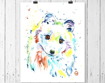 ARCTIC FOX PRINT, Canadian wildlife, fox watercolour, fox painting, fox theme, woodland theme, woodland nursery, arctic theme