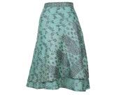 Silk Wrap Skirt, Blue Skirt, Long Skirt, Boho Chic Skirt, Boho Skirt, Plus Size Skirt, Wrap Skirt, Sari Skirt, Skirt, Silk Wrap, Skirts