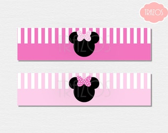 Minnie Mouse Drink Labels - Minnie Water Labels  (INSTANT DOWNLOAD)