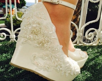 Wedding , Wedding Shoes, Bridal Shoes, Ivory Wedding Shoes, Ivory Wedges, Bridal Wedges,