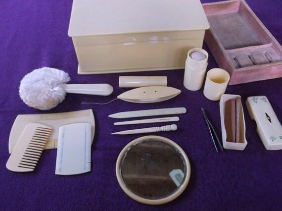 Vintage Art Deco Bakelite Celluloid Dresser Set 13 Fabulous