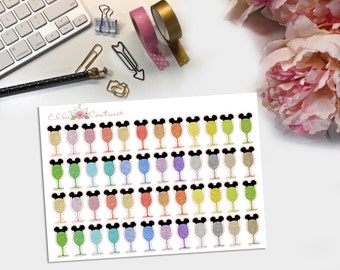 Glitter Mickey Wine Glasses Planner Stickers