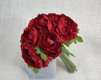 No. B0924 Red Ranunculus Wedding Bouquet, Artificial Flower Bouquet, Artificial Flower, Wedding Bouquet,Bridal Bouquets Bridesmaid Bouquet