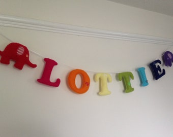 Personalised name garland banner, name letters for nursery bedroom, custom name bunting, nursery bunting, new baby gift